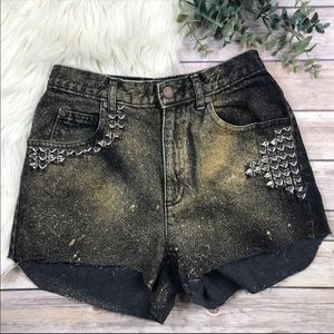 Vintage High Waist Studded Festival Cut Off Shorts